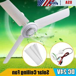 24V Ceiling Fan +2.5m Wire clip+ Switch 3 Blades Outdoor Cam