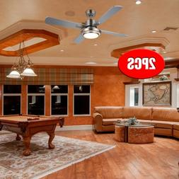 """2x 52"""" Low Profile Brushed Nickel Ceiling Fan with Light & R"""