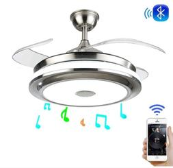 """36""""/42"""" Bluetooth Ceiling Fans w/ LED Retractable Blades Mus"""