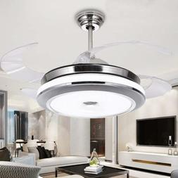 "36""/42"" Invisible Ceiling Fan Lamp Remote Control Dimmable L"