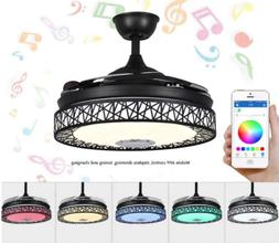 "42"" Bluetooth Invisible Ceiling Fan Lamp 7-Color LED Chandel"