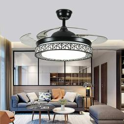 "42"" Ceiling Fan 4 Retractable Blades LED Crystal Chandelier"