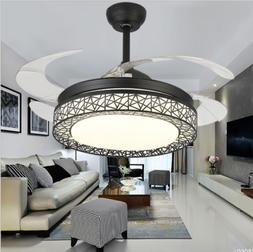 "42"" Ceiling Fans with LED Light 4 Retractable Blades Modern"