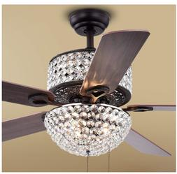 "52"" Crystal Ceiling Fans with Light LED Dimmable Chandelier"