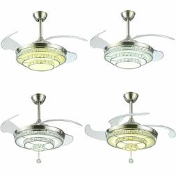 "42"" Crystal Chandelier LED Light Invisible Ceiling Fan Remot"
