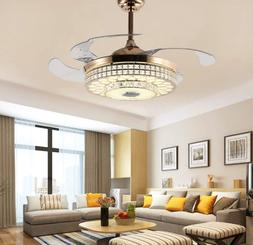 "42"" Crystal Invisible Ceiling Fan Lamp Bluetooth Speaker LED"