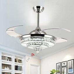 "42"" Crystal Invisible Ceiling Fan Light Remote Control Home"