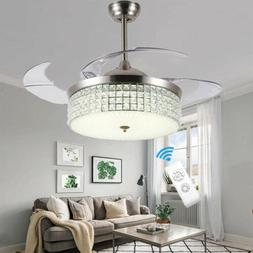 """42"""" Crystal Invisible Ceiling Fan Lighting Chandelier Remote"""