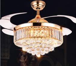 """42"""" Crystal Retractable Acrylic Blade Ceiling Fan Light with"""
