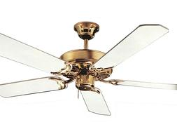 NuTone 42-inch Ceiling Fan 5 Blade Polished Brass with White