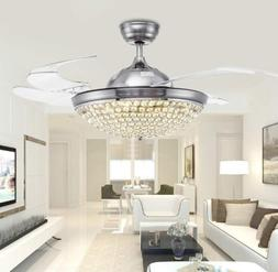 "42"" Invisible LED Ceiling Fan Lamp Silver/Gold Crystal Chand"