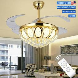 """42"""" LED Crystal Invisible Ceiling Fan Lamp Gold Remote Contr"""