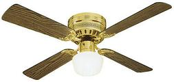 42 Mill Bridge 4 Blade Ceiling Fan - Finish: Polished Brass