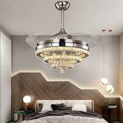 """42"""" Remote Retractable Blades Crystal Ceiling Fans LED Light"""