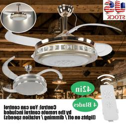 "42"" Retractable Ceiling Fan Light Lamp W/Remote Control Dimm"
