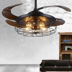 """42"""" Semi Flush Mount Ceiling Fan Retractable Blade With Ligh"""