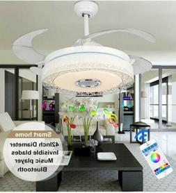 """42"""" Dimmable Ceiling Fan Chandelier Lights with Bluetooth Sp"""