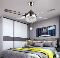 44'' Crystal Ceiling Fan Lamp 4 Stainless Steel Blade Modern