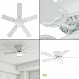 44 in. Matte White Ceiling Fan with Light Kit 5 Blade LED Li
