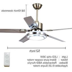 """52"""" Control Remote Ceiling Fan Lamp Light Stainless Steel Ch"""