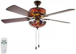 River of Goods 52 in. Indoor Red Ceiling Fan with Light Kit