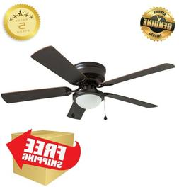 52-in Bronze Flush Mount Indoor Ceiling Fan with LED Light K
