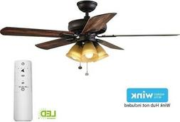 52 in. Smart Ceiling Fan with LED Light Kit and WINK Hub Rem