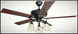 52 Inch Ceiling Fan Light Kit Downrod Brushed Bronze 5 Blade