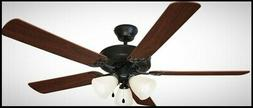 52 Inch Room Ceiling Fan Oil Rubbed Bronze Light Kit 5 Blade