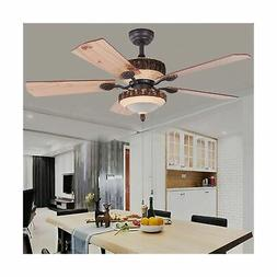 52 Inch Rustic Ceiling Fan With Lights and Remote Silent Fan