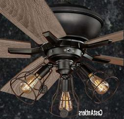 52 Inch Rustic Edison Industrial Ceiling Fan With Cage Light