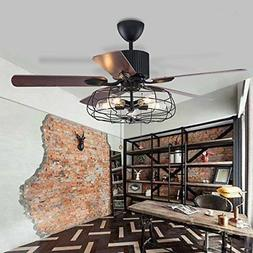"""52""""Industrial Ceiling Fan with 5 Lights Remote Chandeliers V"""