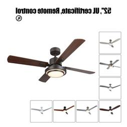 """52"""" Low Profile Contemporary Ceiling Fan with Light & Remote"""