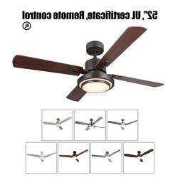 "52"" Low Profile Indoor Ceiling Fan with Light & Remote Contr"