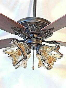 "52"" ORB oil rubbed bronze ceiling fan with 4 light amber han"