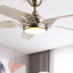 """56"""" Contemporary Ceiling Fan Brushed Nickel LED Light Kit Re"""
