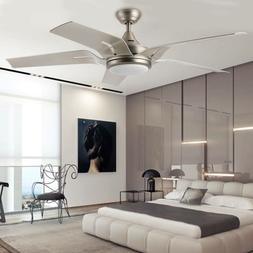 56'' Indoor Ceiling Fan Brushed Nickel LED Light Reversi