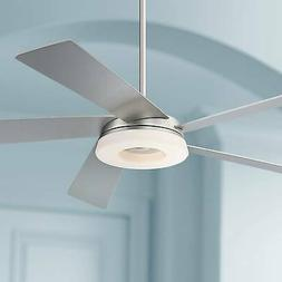 "56"" Modern Ceiling Fan with Light LED Brushed Nickel for Bed"
