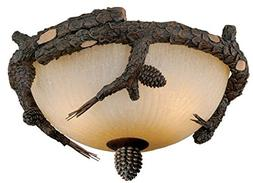 Aspen Bronze Semi Flush Lighting Fixture Vaxcel Pine Cone Ce