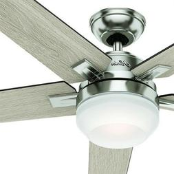 "Hunter 54"" Brushed Nickel Contemporary Ceiling Fan with Case"
