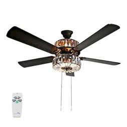 "River of Goods 52"" Caged Crystal 5 Blade Ceiling Fan with Re"