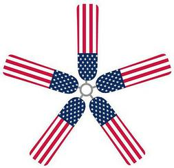Ceiling Fan Blade FABRIC Covers AMERICAN FLAG home decor 5 p