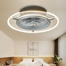 Ceiling Fan With Light kit Remote Control LED Round Transpar