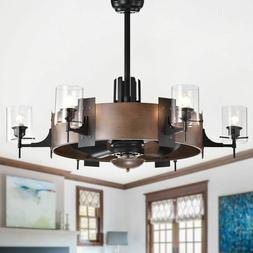 Ceiling Fan with Lights Rustic Chandelier Light Remote Moder
