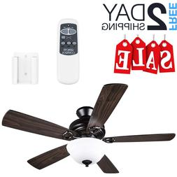 Ceiling Fan With Remote Control And Light Flush Mount Wooden