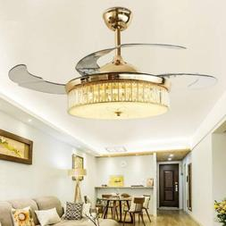 Crystal Ceiling Fans with Lights and Remote Retractable 4 Ac