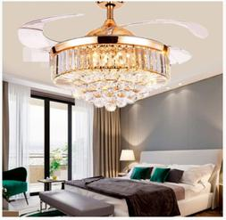 crystal led chandelier invisible ceiling fan light