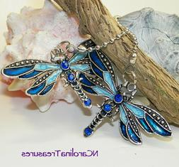 DRAGONFLY ANTIQUE SILVER BLUE CEILING FAN CHAIN LIGHT SWITCH