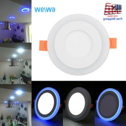 Dual Color RGB LED Ceiling Light Fans Recessed Panel Downlig
