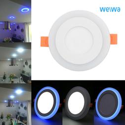 Dual Color White Blue LED Ceiling Light Fans Recessed Panel